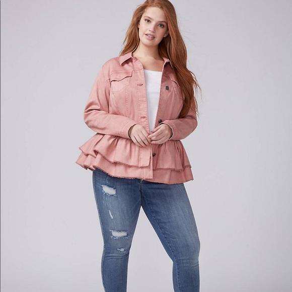 8397639b73f Lane Bryant Jackets   Blazers - Double Ruffle Peplum Dusty Rose Denim Jacket
